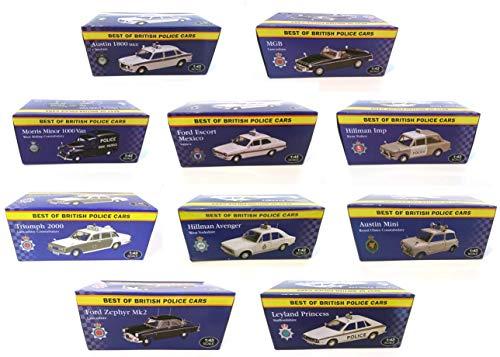 Tasche VON 10 Police English Cars 1/43: Ford Austin Morris Hillman LYLAND Triumph MGB (Ref: UK-4-5-6-7-10-12-14-15-16-20) -