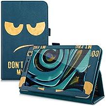 kwmobile Funda para Huawei MediaPad T1 7.0 / Honor Play Tablet T1 - Case delgado para tablet con soporte - Smart Cover slim para tableta Diseño Don't touch my Pad en oro azul oscuro