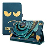 kwmobile Borsa in ecopelle chic per > Huawei MediaPad T1 7.0 / Honor Play Tablet T1 < in oro blu scuro con pratica funzione di supporto e Design Don't touch my Pad
