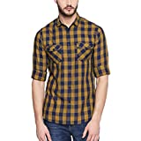 Dennis Lingo Men's Checkered Mustard Slim Fit Casual Shirt (C410_Mustard_L)