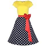 shoperama 50er Jahre Rockabilly-Kleid Gelb/Rot/Schwarz Vintage 50's Retro Polka Dots Fifties Petticoat, Größe:34