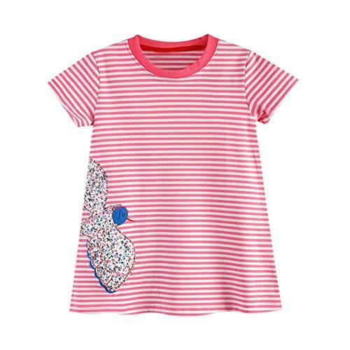 JERFER Kleinkind Baby Kind Mädchen Cartoon Vogel Stickerei Kleid Streifen Kleid Outfit Kleidung (Cheerleader Outfit Für Verkauf)