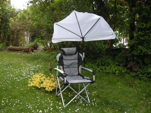HOLLY plage de nature fÄCHERSCHIRM-chaise de plage aLU-sTABIELO-wELLNESS-chaise pliable à dossier haut gris/noir charge max. 120 kg 3 kg et amovible kOPKISSEN- que légèrement innovation fabriqué en allemagne-hOLLY ® produits sTABIELO ® hOLLY eXKLUSIV-fÄCHERSCHIRME avec hOLLY uNIVERSALGELENKHALTERUNG avec kratzfreien gUMMISCHUTZKAPPEN de fixation -