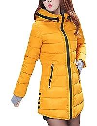 Abrigo de Invierno Cremallera Acolchado Chaqueta Largo con Capucha de manga larga para mujer