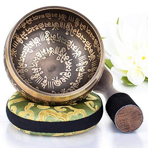 Silent Mind tibetische Klangschale Set ~ Peace Mantra Design ~ mit hochwertigem Holz Klöppel und Himalaya Kissen ~ perfektes zur Yoga Meditation, Entspannung und Achtsamkeit ~ das ideale Geschenkset