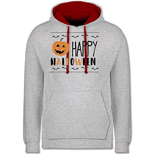 Halloween - Happy Halloween - Kontrast Hoodie Grau Meliert/Rot