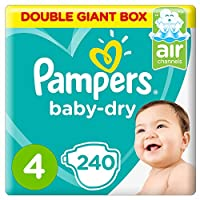 Pampers Baby-Dry Diapers, Size 4, Maxi, 9-14kg, Double Giant Box, 240 Count