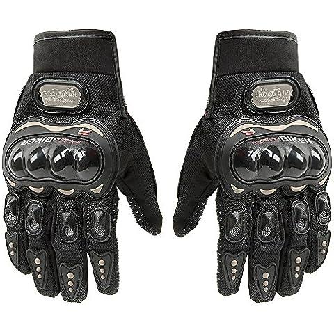 De fibra de carbono de la motocicleta bicicleta ciclismo racing guantes de dedo completo, color negro, tamaño large