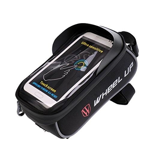 MagiDeal Fahrradtasche aus 900D Leinwand mit klaren PVC-Schirm für Handy/GPS Halterung Schwarz