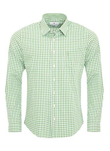 Almsach Herren Trachtenhemd Slim-Fit Slim-Line Trachten-Mode traditionell-kariert s-XXL viele Farben, Größe:L, Farbe:Hellgrün