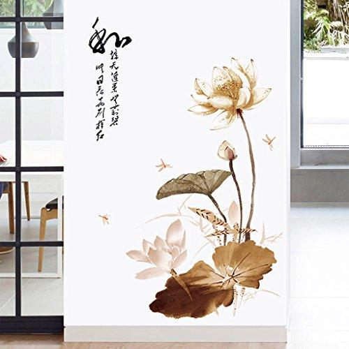 CJH Handwerk Wandaufkleber Schlafzimmer Wand Lotus Aufkleber Nachttisch Dekorationen Selbstklebende warme Tapete Wohnzimmer Wandaufkleber