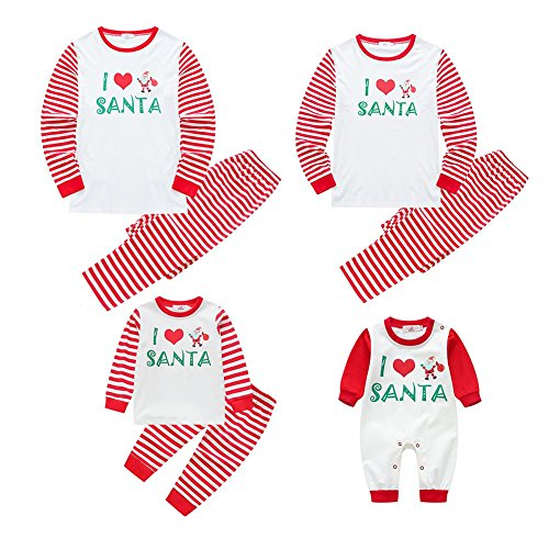 Matching Christmas Pajamas for Family with Infant Baby Wingbind Cute I Love Santa Pattern Strip Long Sleeve Pajamas Set (Cute Christmas Elf Kostüme)