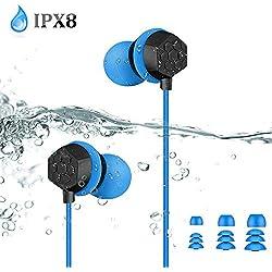 AGPTEK Ecouteurs Etanches IPX8 3,5 mm, Casque Imperméable Basse Stéréo Intra-auriculaire Filaire avec Câble d'Extension et Embouts d'oreille, Compatible avec MP3 pour Natation Surf Course-Bleu