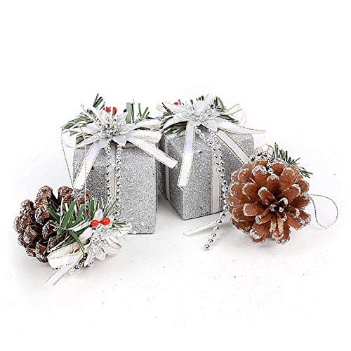 Aszhdfihas glitter balls pinecones gift boxes addobbi per l'albero di natale hanging decoration pendant xmas holiday home party decor corona di decorazioni (colore : argento)