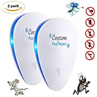 [2018 New]Ultrasonic Pest Repeller, 2 Pack Electronic Plug - in DOUBLE IMPACT Pest Control Ultrasonic for Mosquitoes, Mice, Ants, Roaches, Spiders, Bugs, Flies, Insects, Rodents