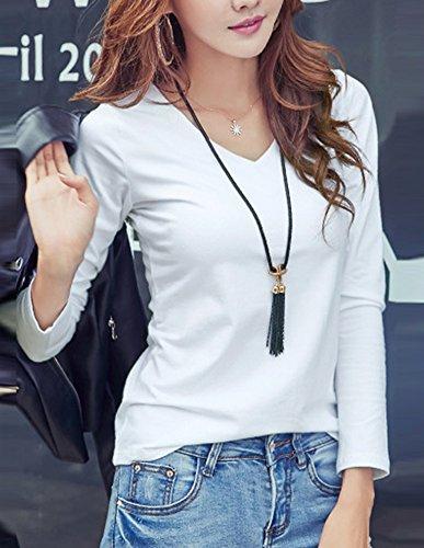 Gladiolus Femme T-Shirts à manches longues Col-V Hauts Blouse Tops Slim Fit Casual Blanc