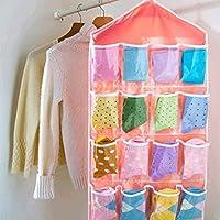 STRIR Bolsa de almacenamiento armario organizador 16 bolsillos para calcetines zapatos juguetes ropa interior Clasificar puerta colgar en la pared claro (Rosa)