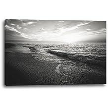 Paisajes Ondas en la playa (mar) foto en blanco y negro, 80x60 cm, Impresión de la lona enmarcada en el marco de madera genuino y listo para colgar, impresión de la alta calidad hecha en Alemania.