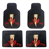 4PC Front & Rear Rubber Floor Mats Set - Betty Boop - NY New York City Sky Line by Plasticolor
