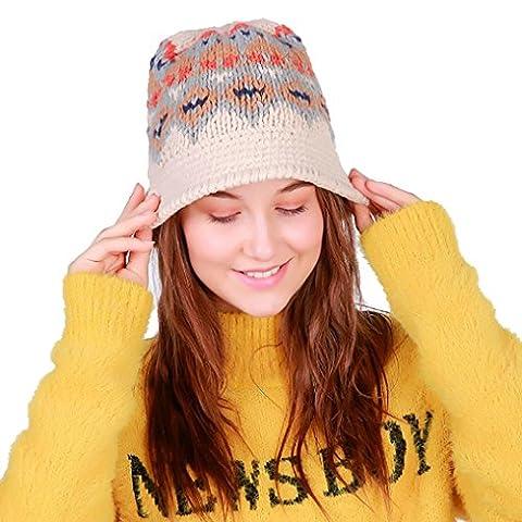 Beanie Hats, Keepwin Women Fashion Retro Multicolor Cable Knit Winter Hat Ski hat Warm Skull Caps