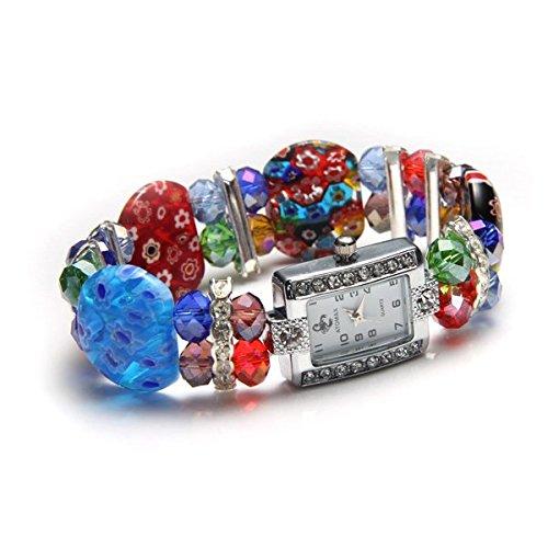 Ecloud Shop® Einzigartige elastische Murano Mode Kristall Armband Armband Uhr