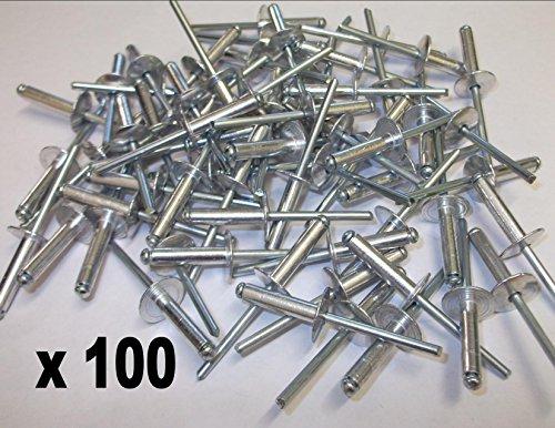 4,8mm x 20mm EXTRA GROß Flansch Aluminium Rollo Pop Nieten Offene Dome Kopf 100Stück (Großer Kopf Nieten)