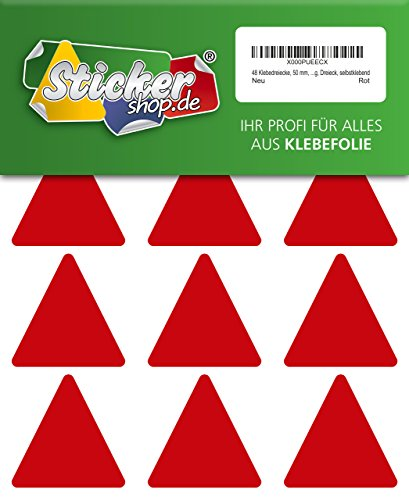48 Aufkleber, Dreieck, Sticker, 50 mm, rot, PVC, Folie, Vinyl, glänzend, Klebemarkierung, selbstklebend