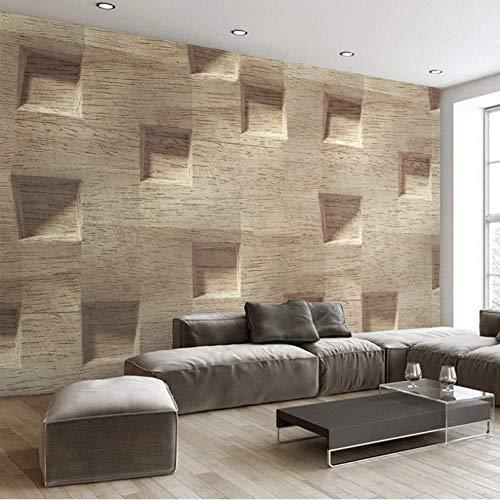 Aisufen Benutzerdefinierte Wandbild Tapete Für Wände 3D Stereoscopic Abstract Square Holzmaserung Große Wandbilder Wandmalerei Tapete-350cmx255cm -
