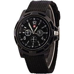JiaMeng Moda Reloj de Pulsera de Cuarzo de Estilo Militar con Esfera Verde Militar para Soldado de Ej¨¦rcito de Soldado (Negro)