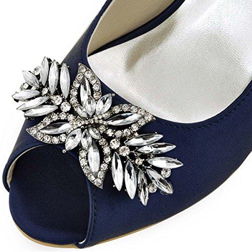 ElegantPark HP1540 Escarpins Femme Satin Diamant Feuille Bout ouvert Pompes Chaussures de Soiree Mariage Bleu Marine