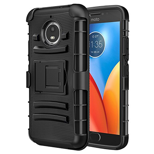 MoKo Moto E4 Plus Hülle - [Heavy Duty Serie] Outdoor Dual Layer Armor Case Handy Schutzhülle Schale mit Gürtelclip & Standfunktion für Motorola Moto E4 Plus (2017) Smartphone, Schwarz