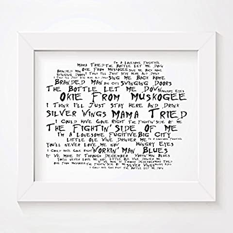 `Noir Paranoiac` Art Print - MERLE HAGGARD - Signed & Numbered Limited Edition Typography Unframed 10x8 Inch Singles Anthology Wall Art Print - Album Song Lyrics Mini Poster