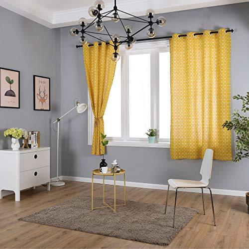 Gz-curtain tende - cotone e lino geometriche gialle - tende da camera da letto in lino semi-ombreggiatura - semplice moderno 140 * 215 cm