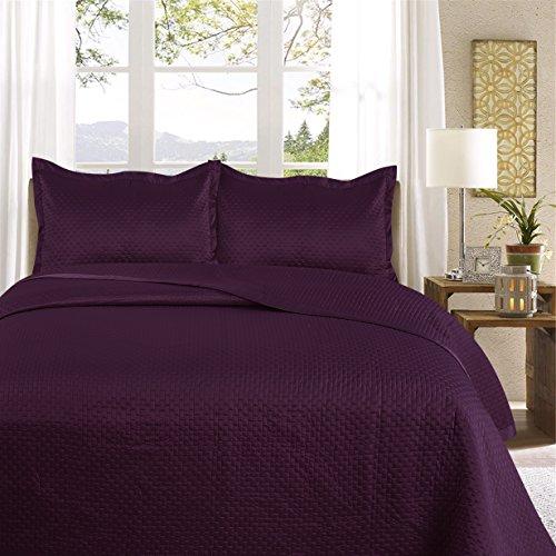 Uni Couette Chaude pour lit Patchwork Édredon Jeté de lit   Polysatin   Taille 220 x 240 cm   Samphira Aubergine   par Mode de Coton