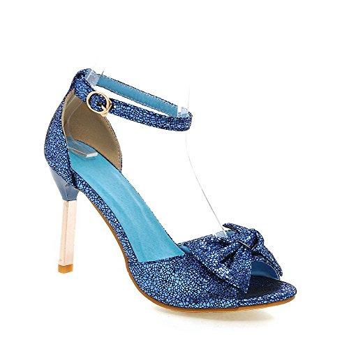 VogueZone009 Donna Puro Tacco Alto Sbirciare Luccichio Fibbia Sandali Azzurro