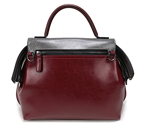 Xinmaoyuan Borse donna portatile cuciture in pelle nappa Borsa Ladies Leisure croce obliqua Package Vino rosso
