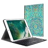 Fintie Bluetooth Tastatur Hülle für iPad 9.7 Zoll 2018 2017 / iPad Air 2 / iPad Air - Ultradünn leicht SlimShell Ständer Keyboard Case mit magnetisch Abnehmbarer drahtloser Deutscher Tastatur, Jade