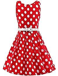 LUOUSE Mädchen 1950er Vintage Retro Tupfen Kleid Hepburn Stil Kleid Party Kleid