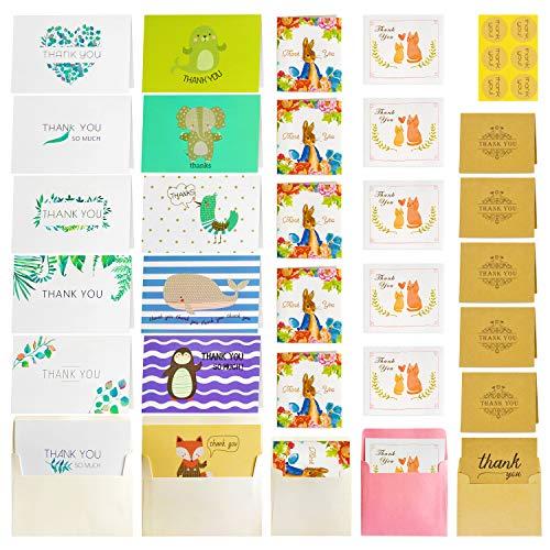 Thank You Karten–30PCS Thank You Karten Pack Kids Thank Sie Karten, Kinder Thank You & Umschläge für Geburtstag Hochzeit Chrismas Party Einladungen