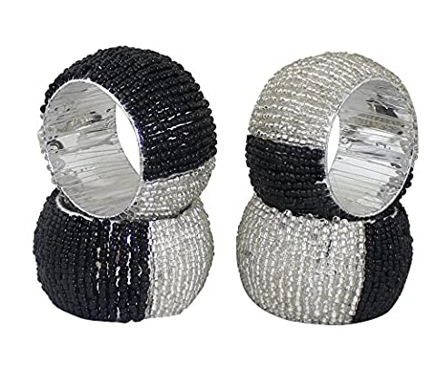 Napkin Set Ring 4 Pack Napkins Holders Glass Beaded Vintage Round Silver Black Handcrafted - 6.4 cm