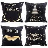 Arelead set di 4Natale cuscino lamina d' oro Home Decor throw Pillow case 18x 18, Cotone, Nero, 45,8 x 45,8 cm