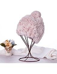 Qiaoba- Mlle boucle d'oreille d'hiver chaude chapeau de paille en cuir élégant