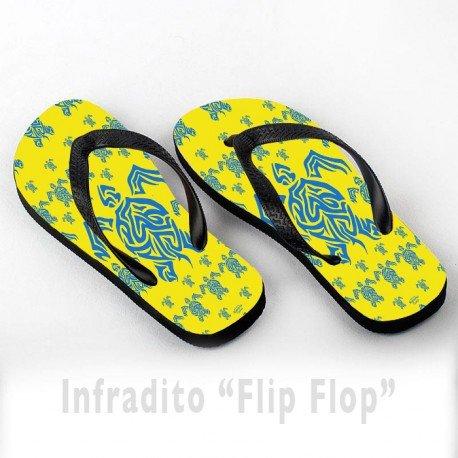Infradito FlipFlop Personalizzate Maori Turtles Tartarughe Yellow and Blue Pattern Giallo by Vittorio Curci