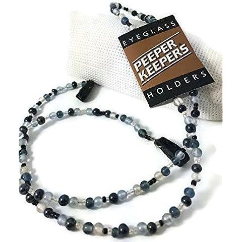 Peeper Keepers Perla de vidrio Gafas Gafas Cadena de cordón para el cuello), color negro, gris y transparente