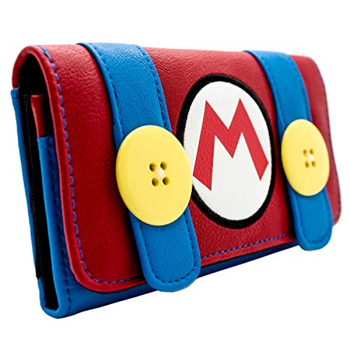 Super Mario Bros. Plumber Overalls Costume Red Tri-Fold Purse