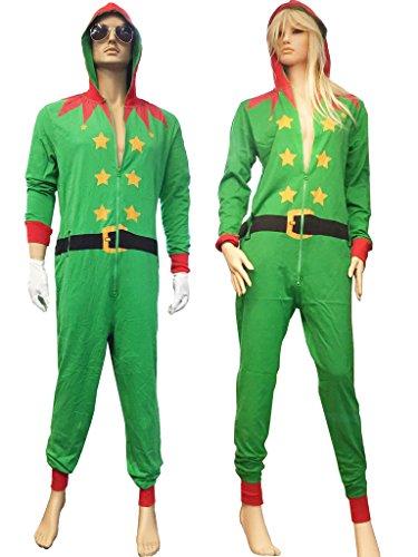 uheit Onesies Kostüm Santa und Elf Kostüm Weihnachten S-XL (Santas Elf Erwachsene Kostüme)