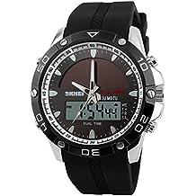 ufengke® deportes de hora dual calendario resistente al agua luminosa la  energía solar reloj de 052990c77396