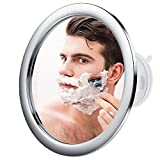Jerrybox Antibeschlag Duschspiegel Rasierspiegel,360 Grad Drehbarer Badspiegel,Wandspiegel mit Saugnapf, Rund, Silber