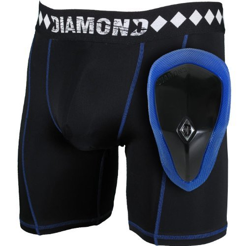 Diamond MMA Compression Shorts With Built-in Jock Strap Supporter With Athletic Cup Pocket For Sports, Medium
