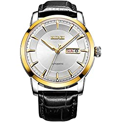 BUREI® Men's Luminous Day and Date Automatic Watch with Black Calfskin Band, Gold Bezel White Dial